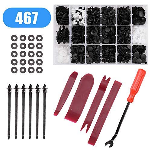 (Voilamart 467 Pcs Car Retainer Clips & Plastic Fasteners Kit - 19 Most Popular Sizes Auto Push Pins Rivets Set -Door Trim Panel Clips Universal Fit for Ford Toyota Honda Chrysler)