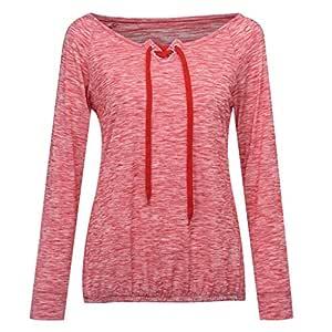Fhuuly Fashion blusa casual holgada de manga larga con ojales ...