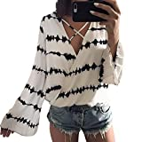 Farjing Blouses for Womens Women Loose Casual Long Sleeve Chiffon Printed Tops Blouse(M,White