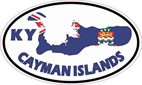 5in x 3in Oval KY Cayman Islands Sticker Vinyl Travel Luggage Decal Stickers