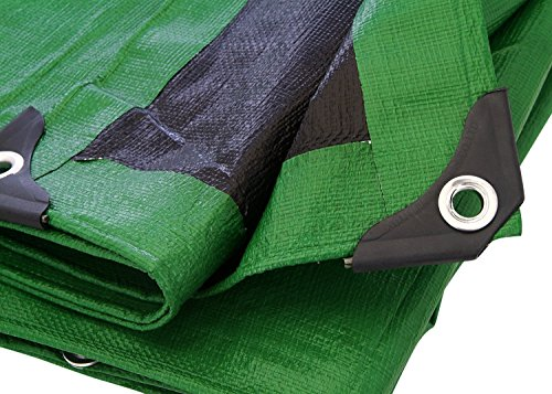 Tarp Cover Green/Black Heavy Duty 8 Mil Thick Material, Waterproof, Great for Tarpaulin Canopy Tent, Boat, RV