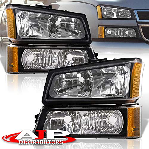 Chevy Silverado Headlights - AJP Distributors Headlights Head Lights Lamps Assembly Pair Left Right 2003 2004 2005 2006 2007 03 04 05 06 07 For Chevy Silverado 1500 2500 3500 Avalanche (Black Housing Clear Lens Amber Reflector)