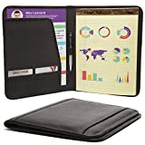 Muiska Pad folio / Resume Portfolio Folder Interview Legal Document Organizer & Business Card Holder With Letter-Sized Writing Pad Handmade cow leather Black