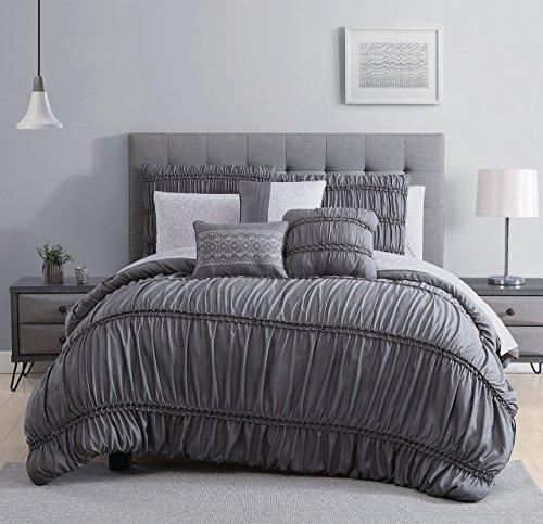 S&L Home Fashion 10 Piece Elsa Charcoal Comforter w/Sheet Set (Stripe 10 Piece Bedding Ensemble)