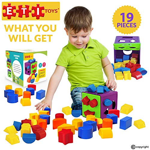 ETI Toys, 19 Piece Unique Educational Sorting & Matching Toy for Toddlers. Colorful Sorter Cube Box & Shapes, 100 Percent Non-Toxic Safe, Promotes Fun Learning, Creativity & Skills Development