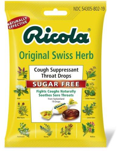Ricola Cough Suppressant Throat Drops, Mountain Herb, Original, Sugar Free, 19 Drops (Pack of 12)