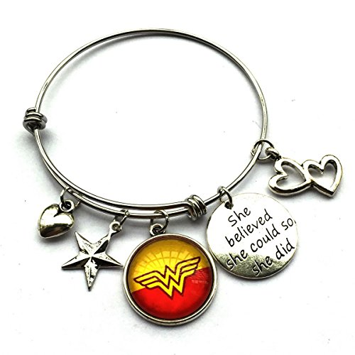 She Believed She Could So She Did Inspirational Expandable Bracelet Gift For Wonder Woman Fans