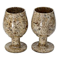 RADICALn Marble Wine Glasses 5.4 Oz 5 x 3 inches - Set of 2 Wine Glasses - Gift For Christmas (Fossil Coral)