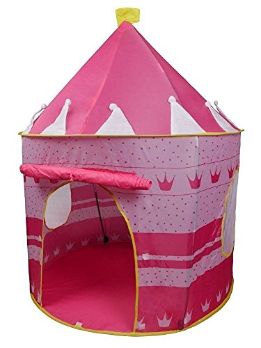 [Portable Pink Folding Play Kids Pop Up Tent Girl Princess Castle House < Decorative print on the sides make your children excited when play] (Animal That Starts With The Letter N)