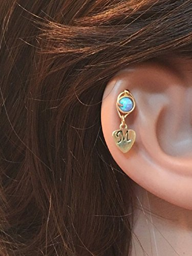 Opal Cartilage Stud Inital Jewelry Personalized Ear Stud All Letters Helix Stud Earring 14K Gold Filled