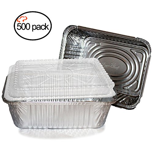 Tiger Chef Oblong Aluminum Foil Pans with Lids, Disposable Tin Freezer to Oven Safe Containers, 5-Pound, for Takeout, Baking, Cooking, Storing and Freezing (500,5-Pound with Dome Lids)
