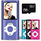 Lonve MP3 Player MP4 Player 16GB Portable Media Music Player with FM Radio Voice Recorder Supporting MP3 WMA WAV Purple