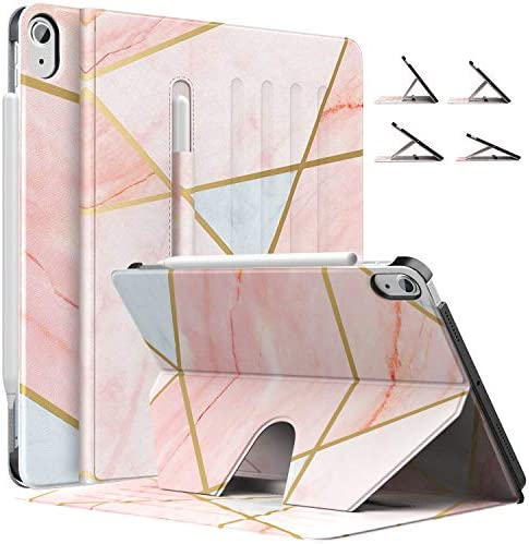 MoKo Case Fit iPad Air 4th Generation 2020 – New iPad Air 4 Case with Pencil Holder [Support Apple Pencil 2 Charging] Protective Cover for iPad 10.9″, Multi-Angle Magnetic Stand,Geometric Marble Pink