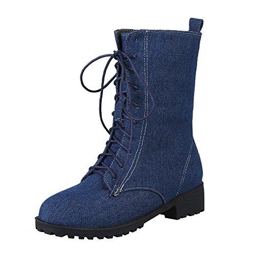 7be8ccf8bbaa YE Damen Denim Ankle Boots Flache Schnürstiefeletten mit Schnürung Modern  Bequem Schuhe Dunkelblau