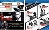Dirty Harry Collection Clint Eastwood Blu Ray + Steve McQueen Triple Feature - The Enforcer / Magnum Force / Dead Pool / Sudden Impact / Bullitt / The Getaway Action Pack 7 Movie Set