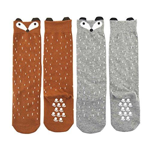 Shorven Baby Kids Cotton Socks Knee High Long Socks 2 Packs Grey & Orange Fox L