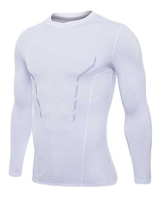 Moollyfox Hombre Camiseta De Manga Larga Secado Rápido Tactical Compresión Base Layer Tops T-Shirts h11Og