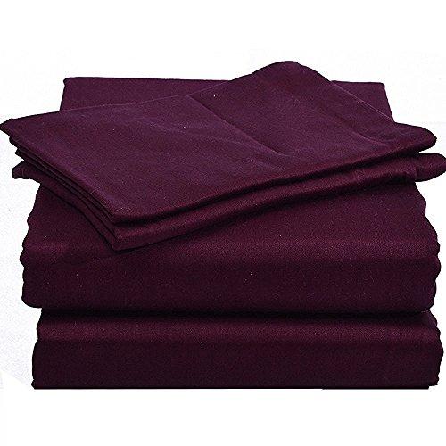 300 Queen Sheet Set - Rajlinen 100% Cotton Bed Sheet Set - 300 Thread Count Sateen - 15 inch Deep Pocket - Quality Luxury Bedding - 4 Piece (Wine Solid Queen)