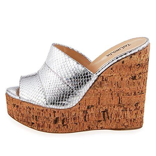 Amy Q Women's Metallic Sliver Peep Toe Cork Wedge Mules Platform Slides High Heel Sandals, Size 41