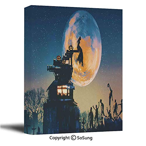 Fantasy World Canvas Wall Art,Dead Queen in Castle Zombies in Cemetery Love Affair Bridal Halloween Theme,Modern Living Room Office Wall Art Bedroom Decoration Ready to Hang,24x36 inch -