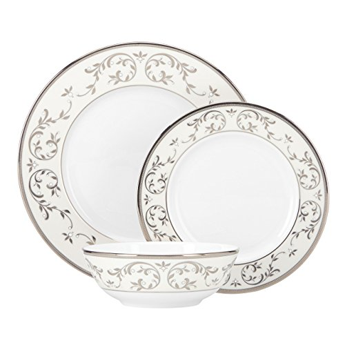 Lenox Opal Innocence Silver Platinum 3-Piece Place Setting, White