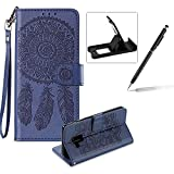 Strap Pu Leather Case for Samsung Galaxy A8 2018,Wallet Flip Cover for Samsung Galaxy A8 2018,Herzzer Classic Elegant Book Style [Dark Blue Wind Chime] Embossed Slim Fit Stand Leather Folio Pouch Protective Mobile Cellphone Case for Samsung Galaxy A8 2018