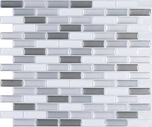 WALL DIMENSION Easy Peel & Stick 3D Vinyl Mosaic Grey White Silver Tile for Kitchen and Bathroom Back Splash Border. Set of 4 Tile Sheets. 2.83 sf. WM-129C