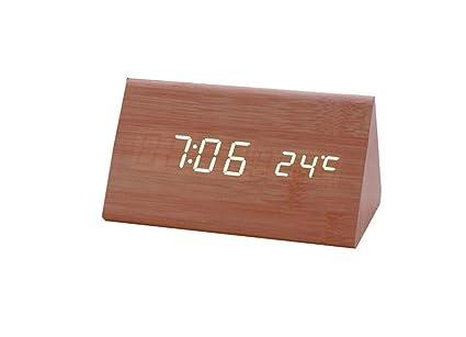 Alarm Clock Triángulo de imitación de madera moderna alarma de control de alarma de sonido USB