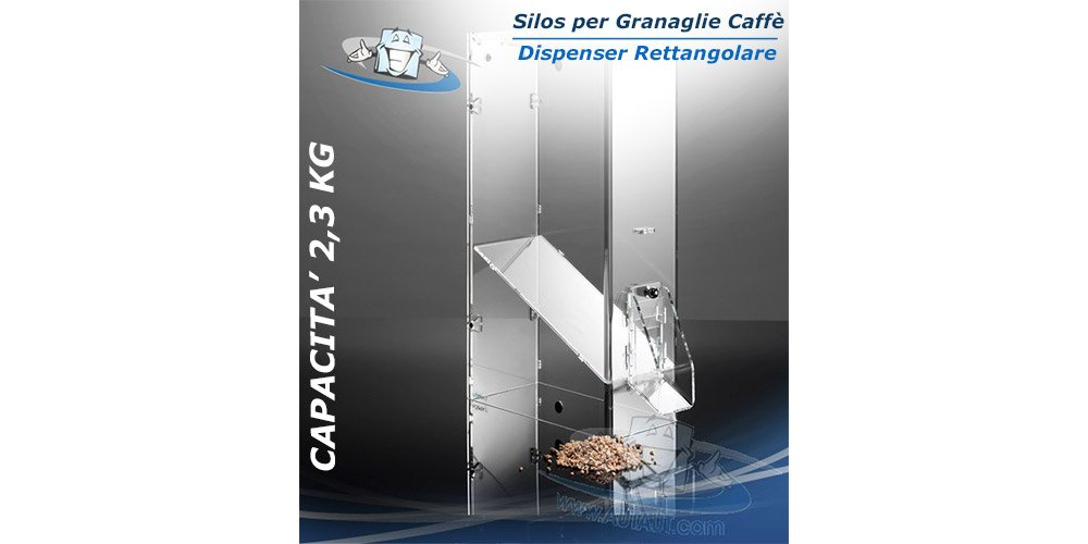 Circuito AUT AUT Silos per Caffè/Granaglie - capacità 2, 3 Kg- L15 x P26 x H41 cm - Dispenser Rettangolare