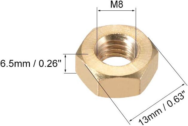 sourcing map M/étrique M8 /écrou Hex en laiton dor/é 10pc