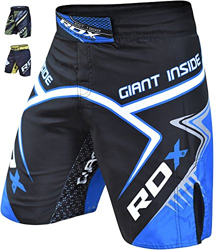 RDX Training Clothing UFC Cage MMA Shorts Fighting Grappling Martial Arts Muay Thai Kickboxing, Blue, Large