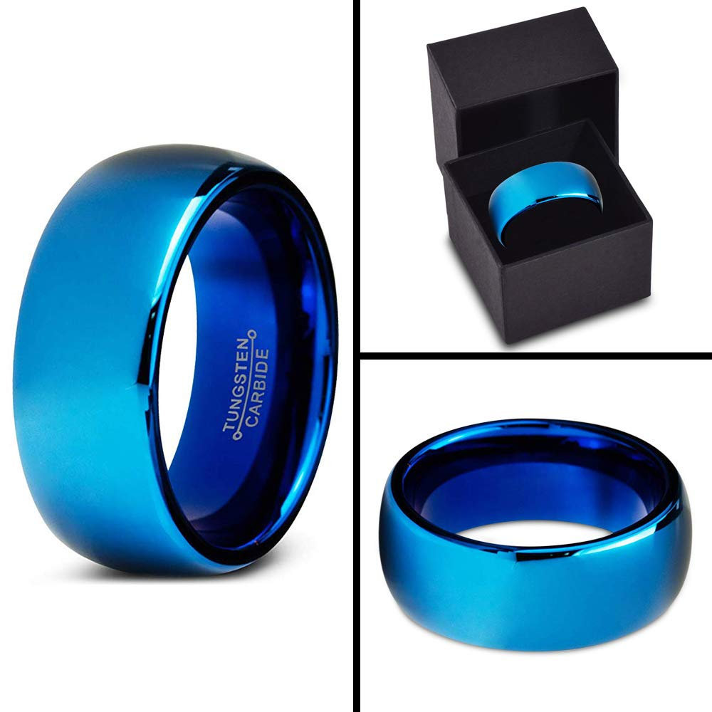 Charming Jewelers Tungsten Wedding Band Ring 8mm Men Women Comfort Fit Blue Dome Polished Size 10