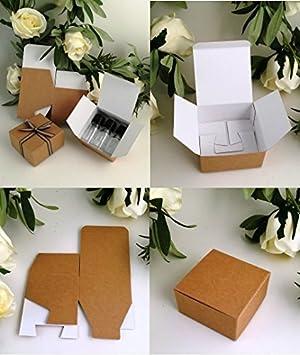 Pack de 10 pequeñas cajas regalo (código #F) papel de envolver plano pack regalo auto-ensamblable caja apta para chocolates, joyería, pequeños regalos: ...