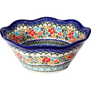 Polish Pottery Ceramika Boleslawiec, 0424/238, Bowl Viki 2, 6 1/2 Cups, Royal Blue Patterns with Red Cornflower and Blue Butterflies Motif