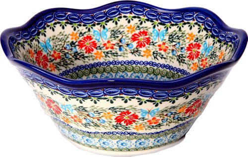 Polish Pottery Blue Art - Polish Pottery Ceramika Boleslawiec Bowl Viki Cups, Royal Blue Patterns with Red Cornflower and Blue Butterflies Motif, 6-1/2-Inch