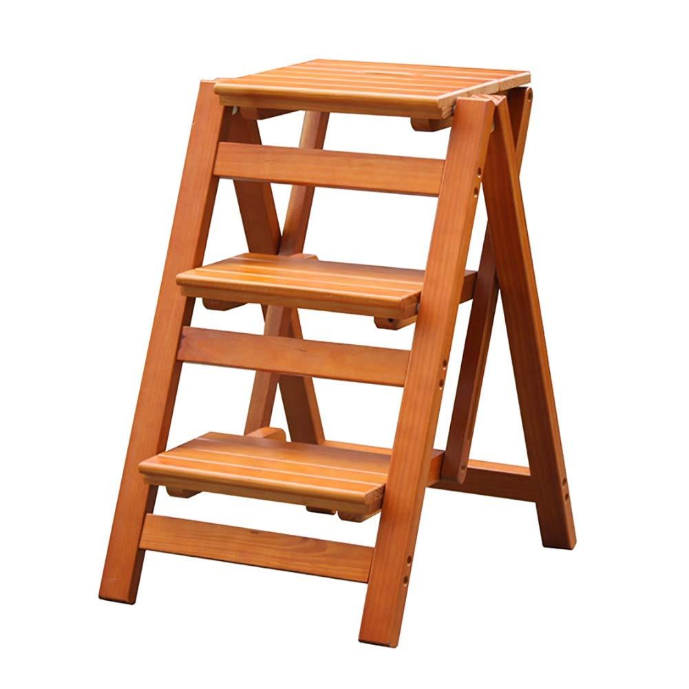 Scaletta pieghevole a tre gradini Sgabello da cucina in legno massiccio addensato Sgabello Scaletta interna Sgabello da arrampicata a doppio uso Scaletta in legno creativo (Colore : Style4) ZAY