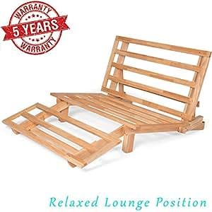 tri fold wood futon frame full size sofa bed lounger