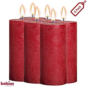 BOLSIUS Rustic Full Metallic Red Candles - Set of 6 Unscented Pillar Candles - Red Candles with a Full Metallic Coat - Slow Burning - Perfect Décor Candle - 190/68m 7.5X 2.75 Inches