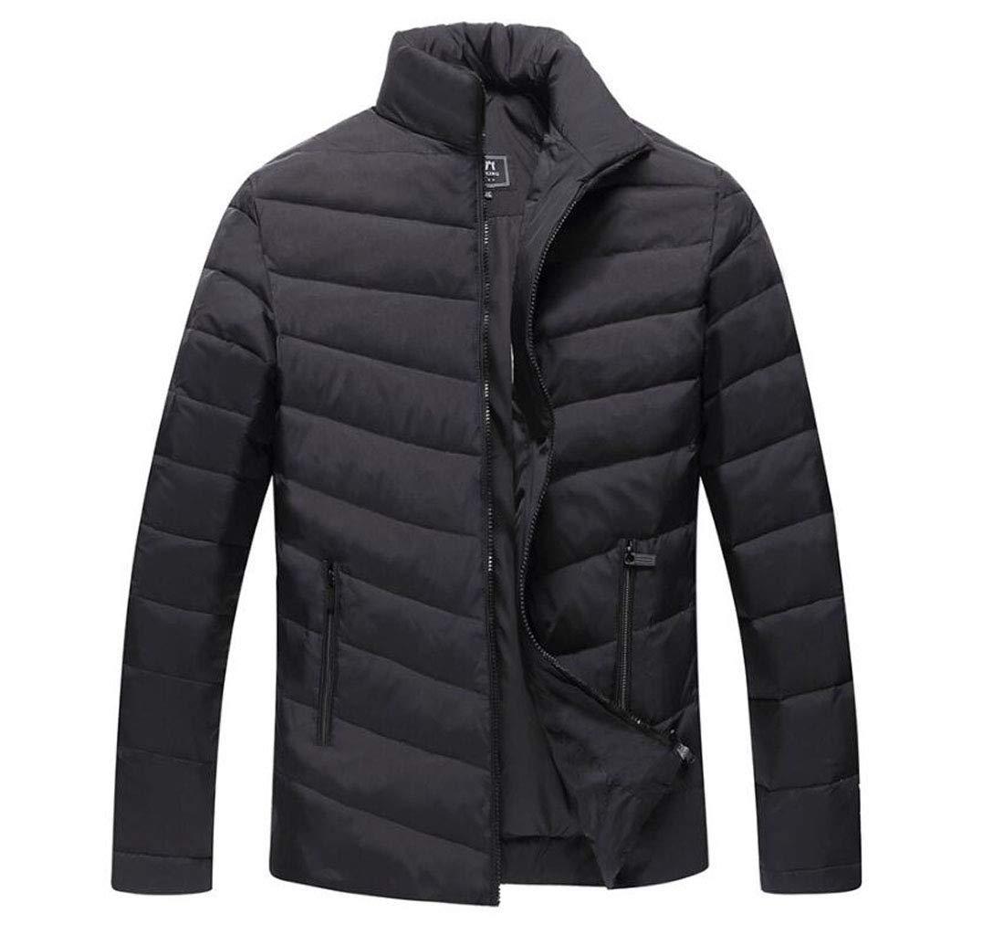 DAFREW Veste en Duvet Hommes, Veste Chaude épaissie, Manteau de Couleur Unie à la Mode col Montant (Couleur   Noir, Taille   XL) NOIR XL