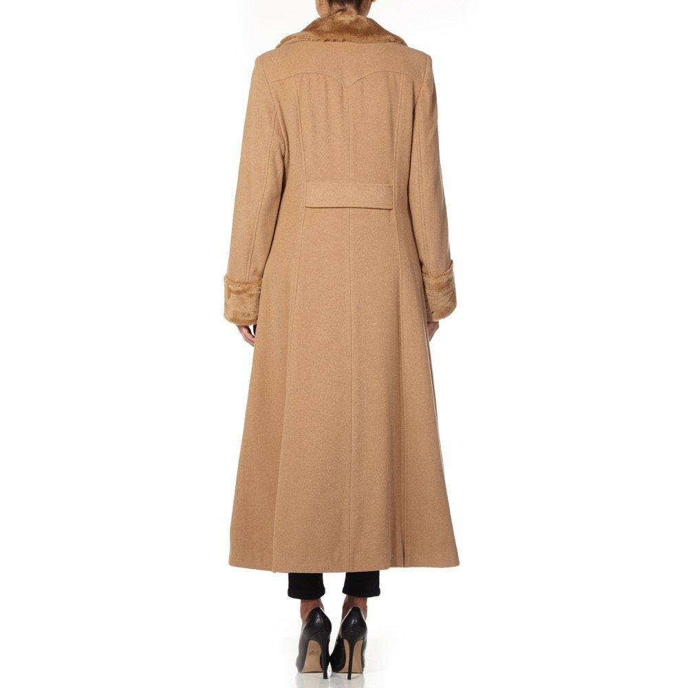 188548683 De la Creme - Women`s Winter Wool Cashmere Military Coat Faux Fur Collar:  Amazon.co.uk: Clothing
