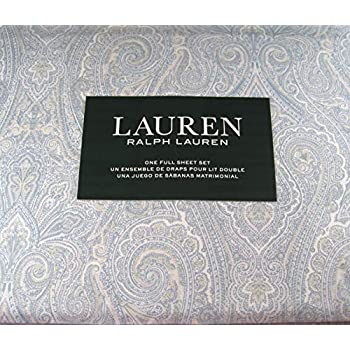 Lauren 4 Piece Full Size Paisley Floral Sheet Set Blue and White 100% Cotton