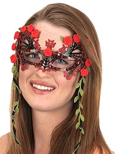 Senorita Spanish Fancy Metal Mask Red Roses Filigree Halloween Costume (Spanish Jesus Halloween Costume)