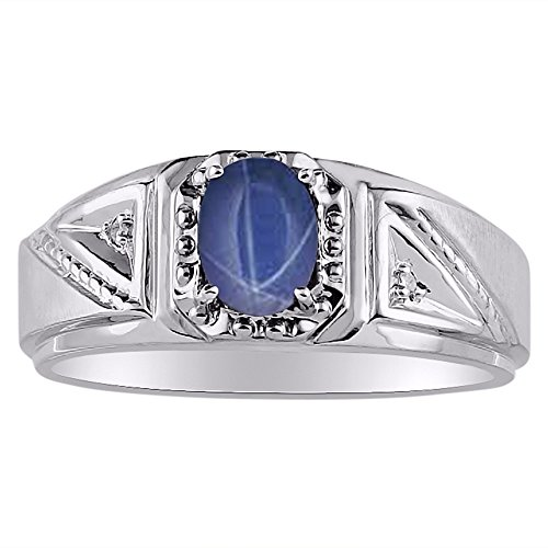 Genuine Diamond & Gorgeous Oval Blue Star Sapphire Ring set in Sterling Silver .925