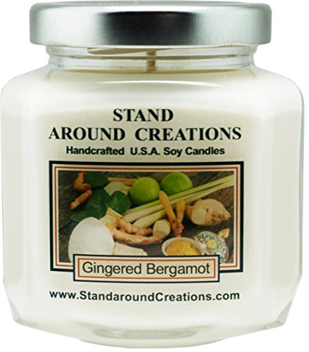 Infused Basil Citrus - Premium 100% Soy Wax Candle - 6 - oz. Hex Jar- Gingered Bergamot: A blend of fresh citrus bergamot w/exotic spices such as ginger, sandalwood, patchouli, basil. Infused w/essential oils.