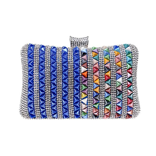 Diamantes Señoras De La Tarde Lujo Bolso De Tarde Bolso Manera Personalidad Mini Bolso Del Maquillaje Blue