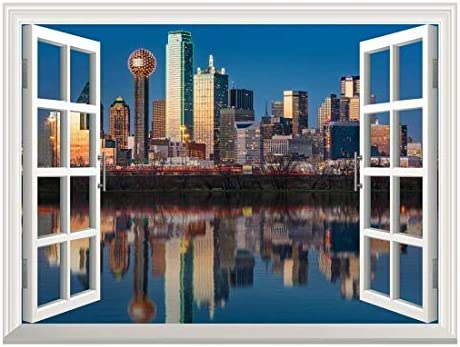 Removable Wall Sticker/Wall Mural - Dallas Skyline Reflected in Trinity River at Sunset | Creative Window View Home Decor/Wall Decor - 24