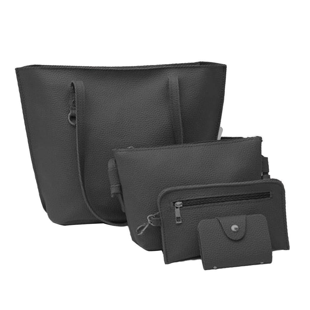 Milene88 Women Fashion Handbag Leather Solid Shoulder Bag Travel Wallet Clutch Set Shoulder Bags
