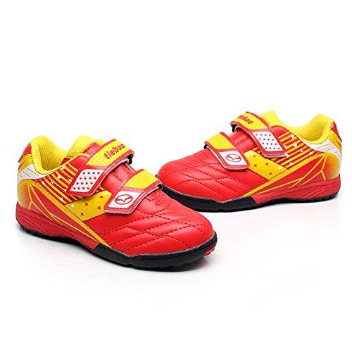 Tiebao Niños Clásico Bucle de Gancho Zapatos de Fútbol Profesional Zapatillas de Deporte Niños / Jóvenes Tamaño Rojo
