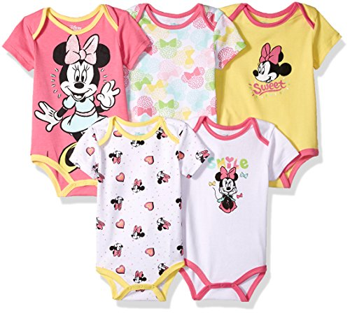 Disney Baby Girls' Minnie Mouse 5 Pack Bodysuits, Multi/Salmon Rose Pink, 18M