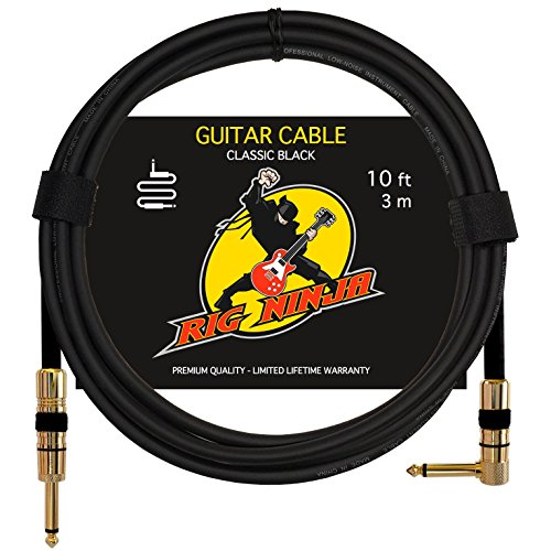 Rig Ninja Guitar Cable For Serious Musicians  10 Ft Electric Guitar Amp Cord For A Clean Tone To The Amplifier  Right Angle Instrument Cables  Great Signal Transmission  Low Noise Guitars   Bass Cords